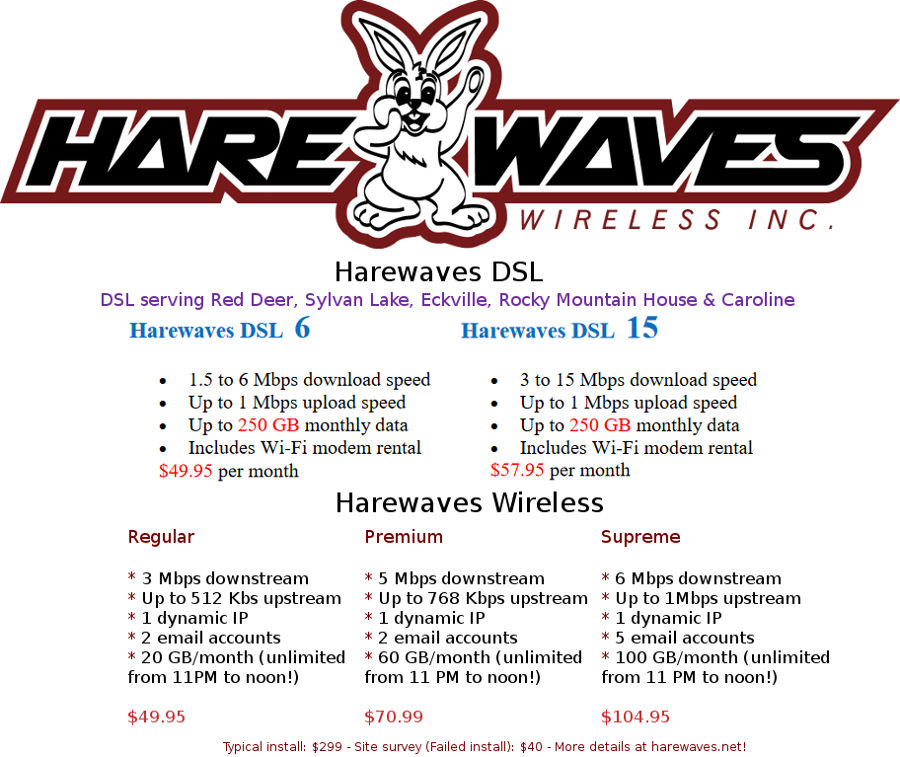 Harewaves: Affordable, reliable wireless & DSL Internet for Alberta since 2004